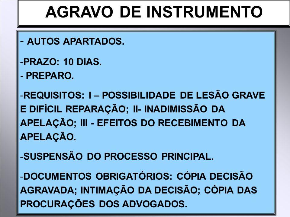 AGRAVO DE INSTRUMENTO AUTOS APARTADOS. PRAZO: 10 DIAS. - PREPARO.