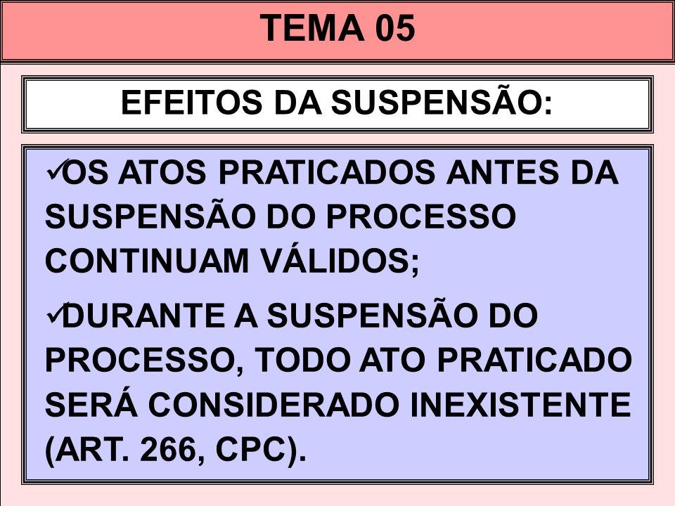 TEMA 05 EFEITOS DA SUSPENSÃO: