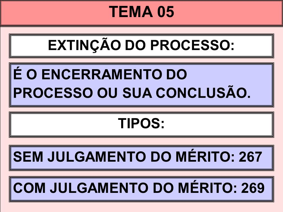 TEMA 05 EXTINÇÃO DO PROCESSO: