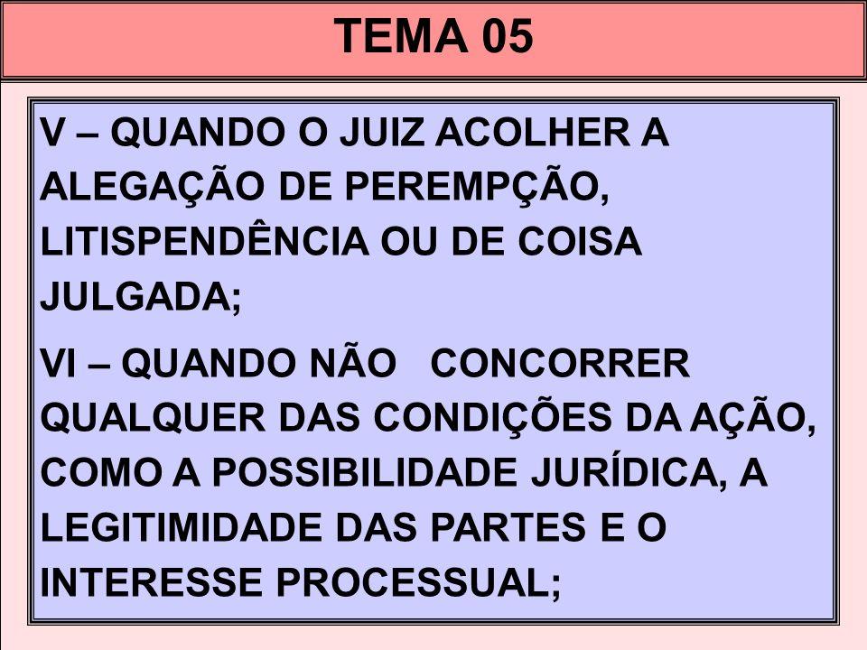 TEMA 05 V – QUANDO O JUIZ ACOLHER A ALEGAÇÃO DE PEREMPÇÃO, LITISPENDÊNCIA OU DE COISA JULGADA;