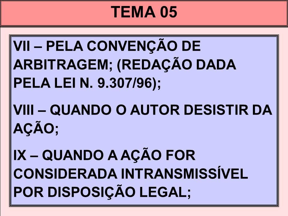 TEMA 05 VII – PELA CONVENÇÃO DE ARBITRAGEM; (REDAÇÃO DADA PELA LEI N. 9.307/96); VIII – QUANDO O AUTOR DESISTIR DA AÇÃO;