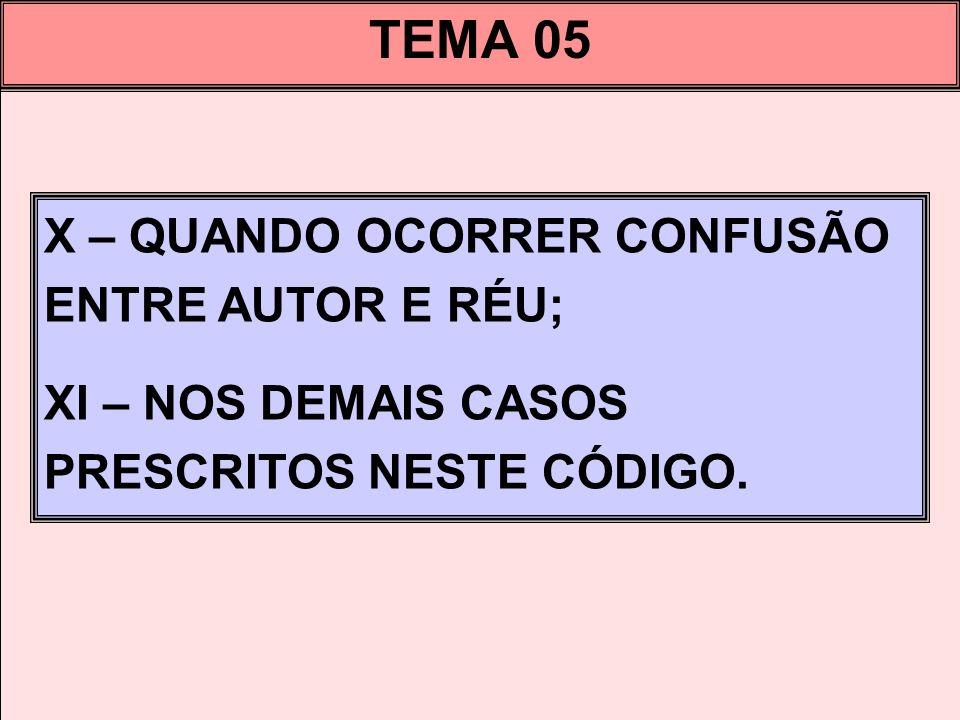 TEMA 05 X – QUANDO OCORRER CONFUSÃO ENTRE AUTOR E RÉU;