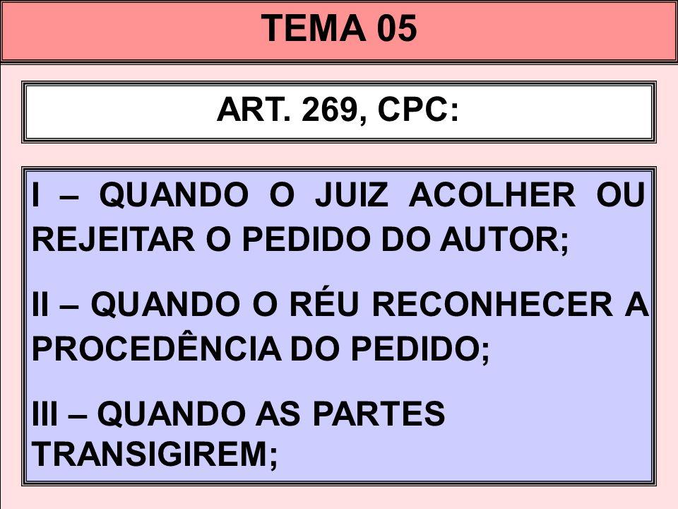 TEMA 05 ART. 269, CPC: I – QUANDO O JUIZ ACOLHER OU REJEITAR O PEDIDO DO AUTOR; II – QUANDO O RÉU RECONHECER A PROCEDÊNCIA DO PEDIDO;