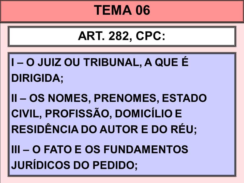 TEMA 06 ART. 282, CPC: I – O JUIZ OU TRIBUNAL, A QUE É DIRIGIDA;
