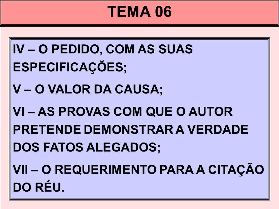 TEMA 06 IV – O PEDIDO, COM AS SUAS ESPECIFICAÇÕES;