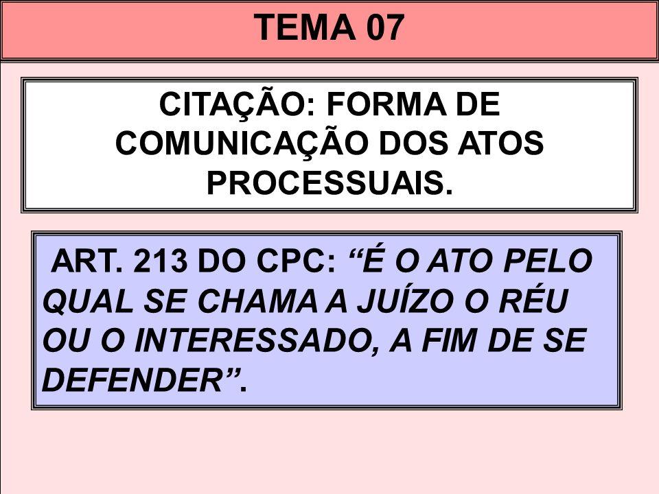CITAÇÃO: FORMA DE COMUNICAÇÃO DOS ATOS PROCESSUAIS.