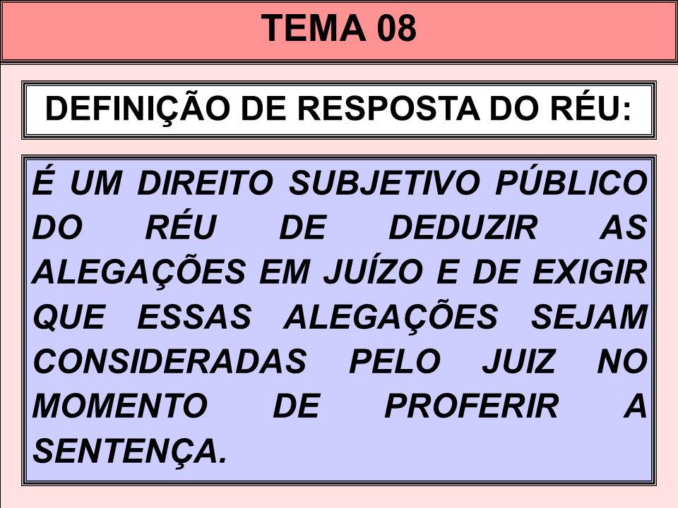 DEFINIÇÃO DE RESPOSTA DO RÉU: