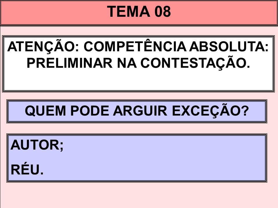 TEMA 08 ATENÇÃO: COMPETÊNCIA ABSOLUTA: PRELIMINAR NA CONTESTAÇÃO.