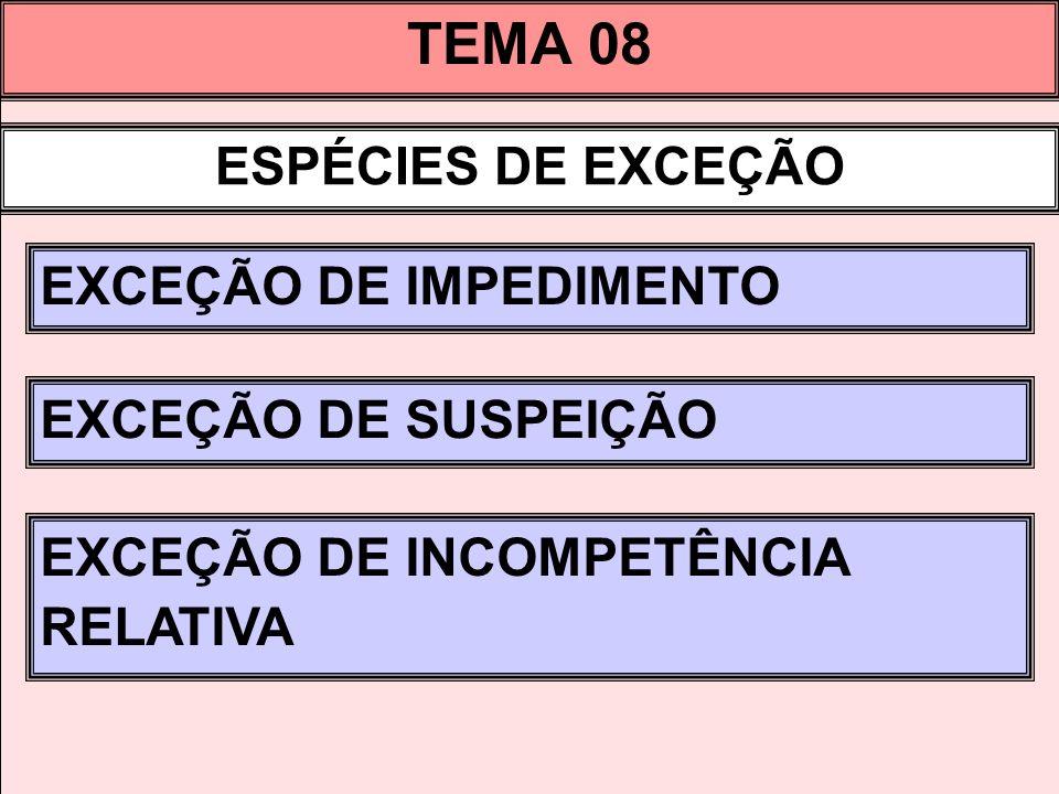 TEMA 08 ESPÉCIES DE EXCEÇÃO EXCEÇÃO DE IMPEDIMENTO