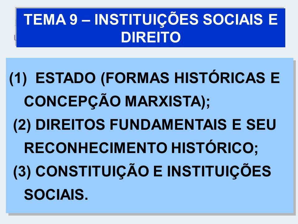 TEMA 9 – INSTITUIÇÕES SOCIAIS E DIREITO