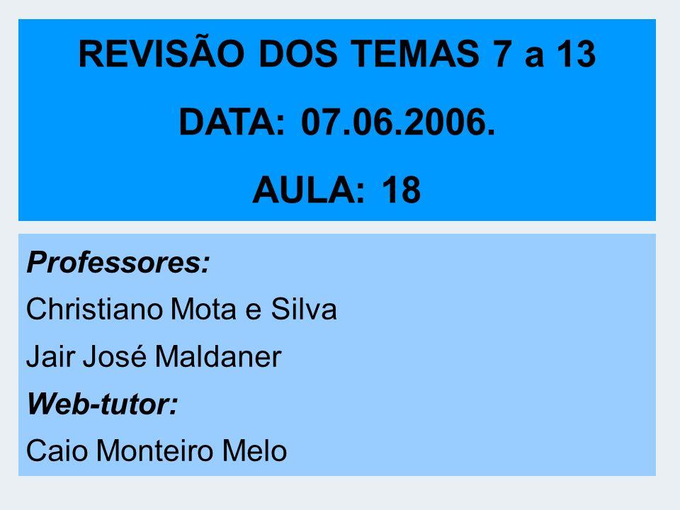 REVISÃO DOS TEMAS 7 a 13 DATA: 07.06.2006. AULA: 18