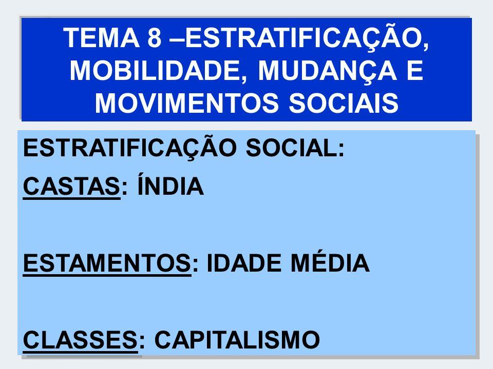 TEMA 8 –ESTRATIFICAÇÃO, MOBILIDADE, MUDANÇA E MOVIMENTOS SOCIAIS