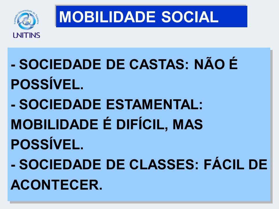 MOBILIDADE SOCIAL - SOCIEDADE DE CASTAS: NÃO É POSSÍVEL.