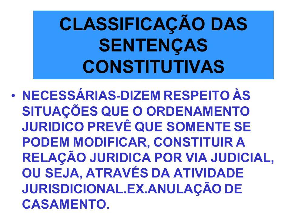 CLASSIFICAÇÃO DAS SENTENÇAS CONSTITUTIVAS