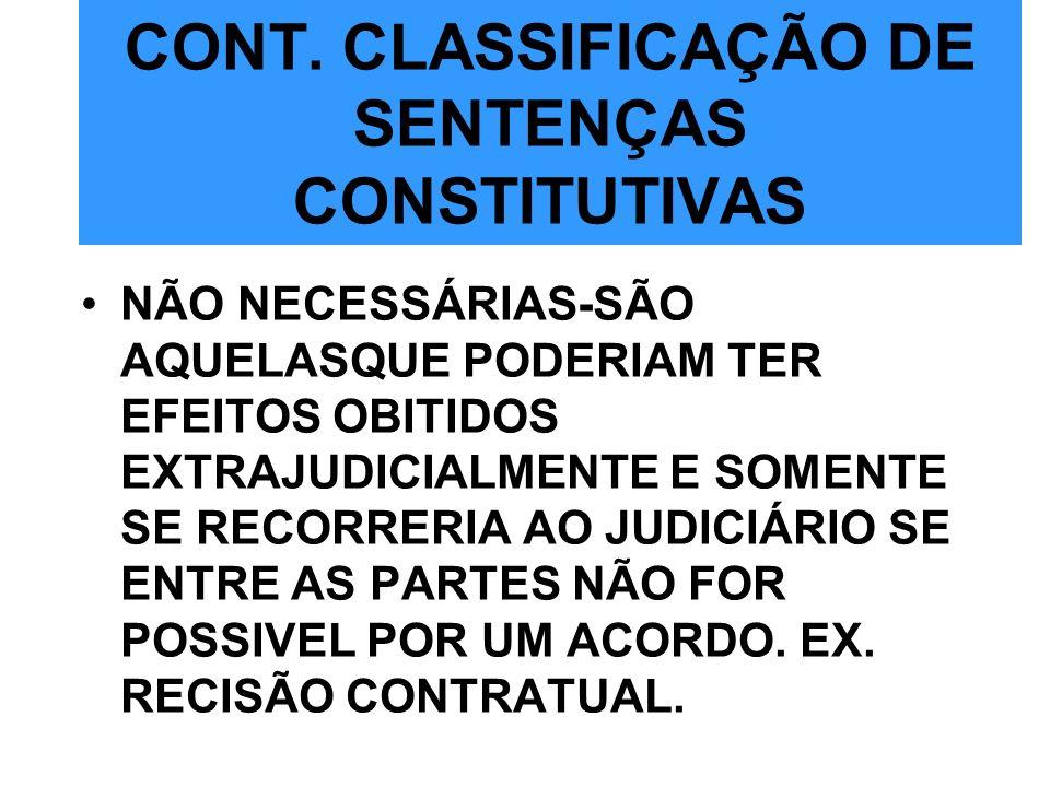 CONT. CLASSIFICAÇÃO DE SENTENÇAS CONSTITUTIVAS