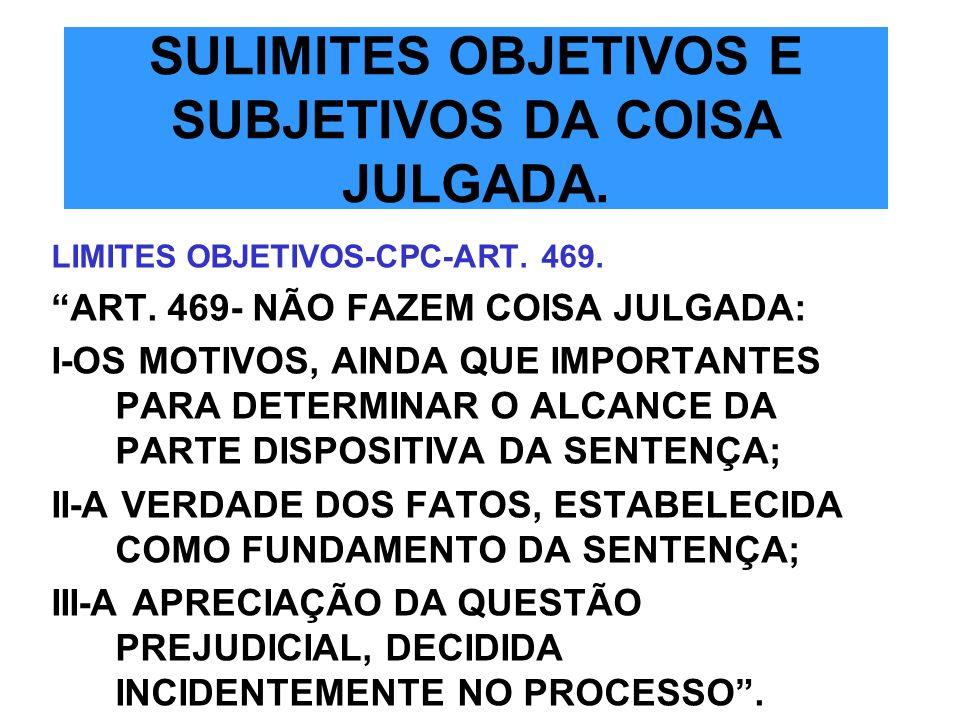 SULIMITES OBJETIVOS E SUBJETIVOS DA COISA JULGADA.