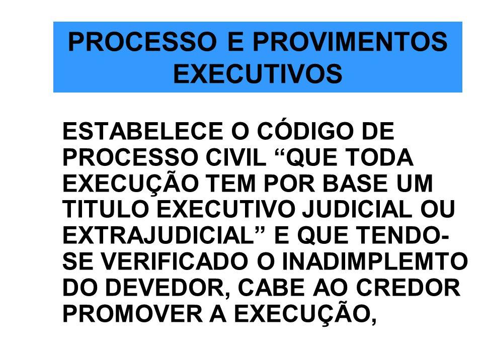 PROCESSO E PROVIMENTOS EXECUTIVOS