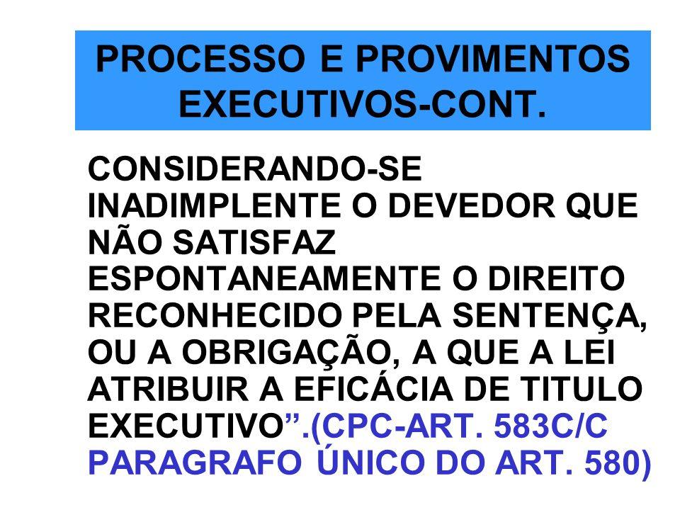 PROCESSO E PROVIMENTOS EXECUTIVOS-CONT.