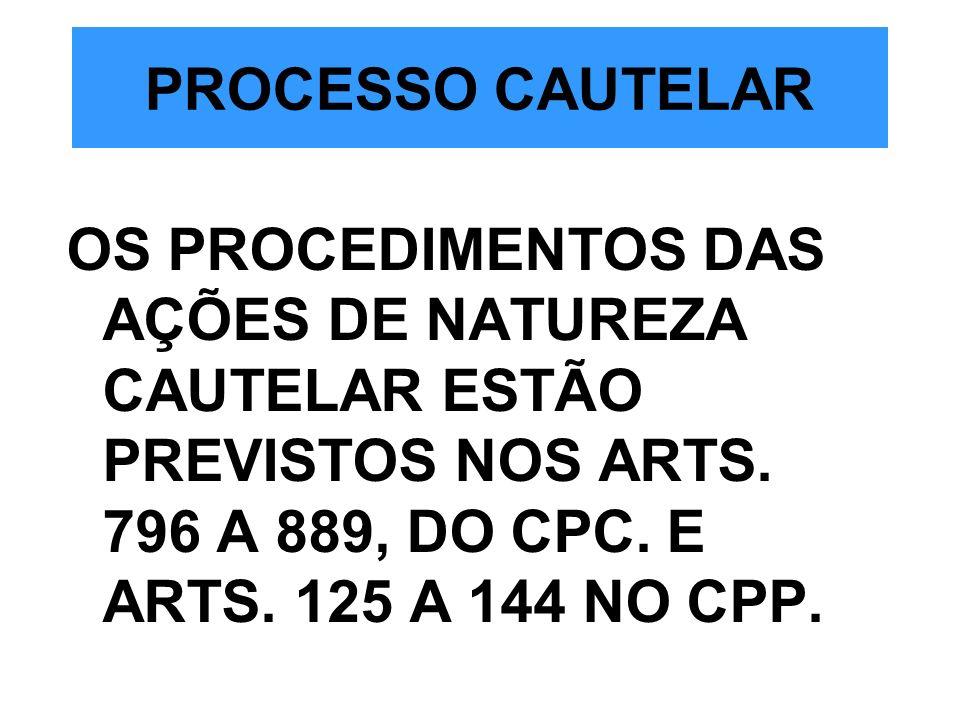 PROCESSO CAUTELAR OS PROCEDIMENTOS DAS AÇÕES DE NATUREZA CAUTELAR ESTÃO PREVISTOS NOS ARTS.