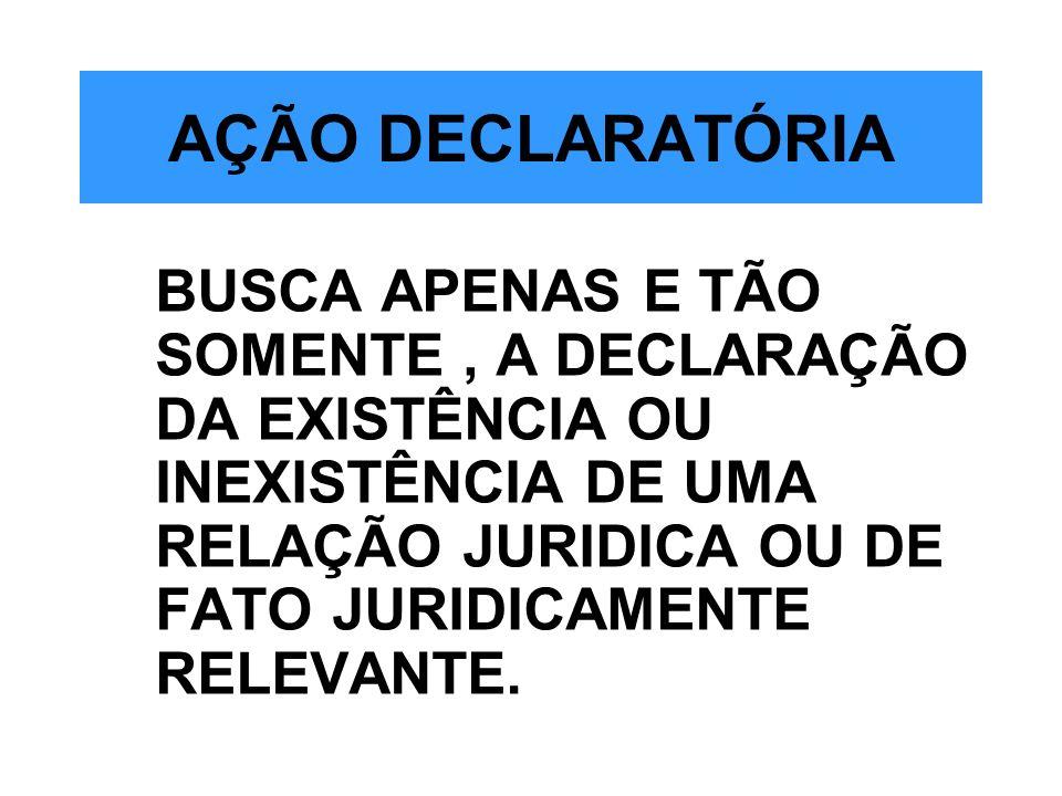 AÇÃO DECLARATÓRIABUSCA APENAS E TÃO SOMENTE , A DECLARAÇÃO DA EXISTÊNCIA OU INEXISTÊNCIA DE UMA RELAÇÃO JURIDICA OU DE FATO JURIDICAMENTE RELEVANTE.