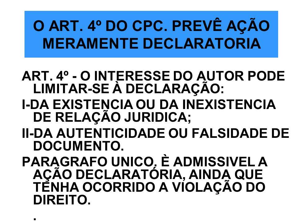 O ART. 4º DO CPC. PREVÊ AÇÃO MERAMENTE DECLARATORIA