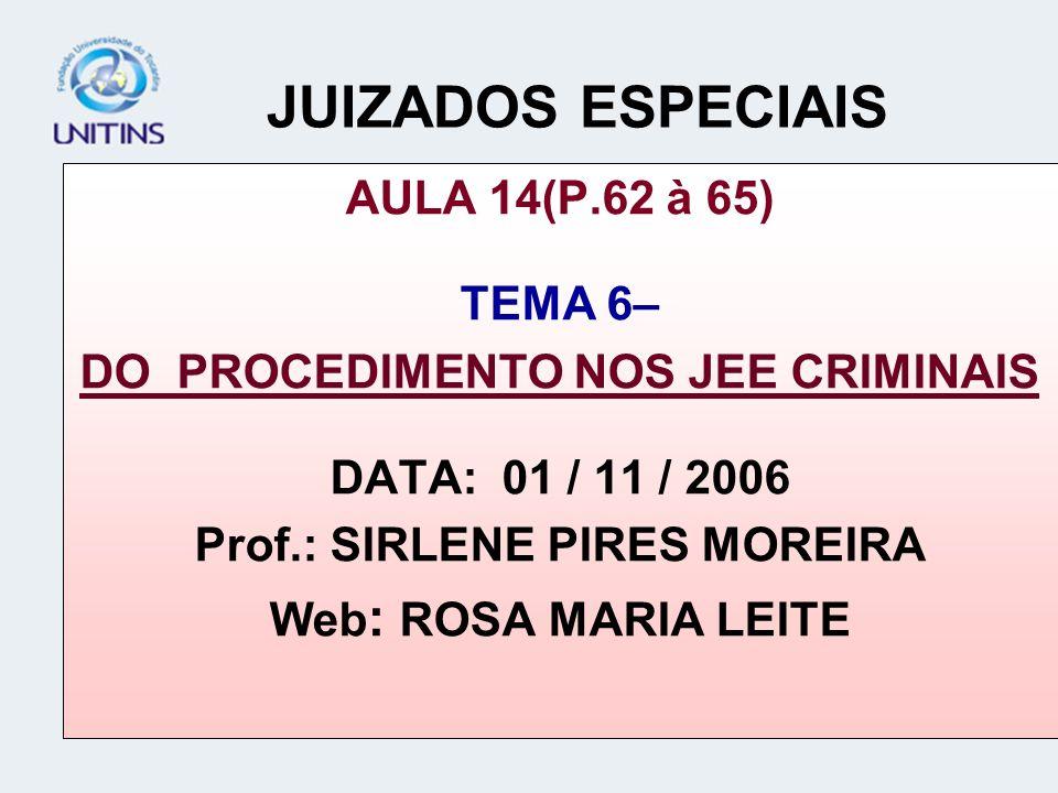 DO PROCEDIMENTO NOS JEE CRIMINAIS Prof.: SIRLENE PIRES MOREIRA