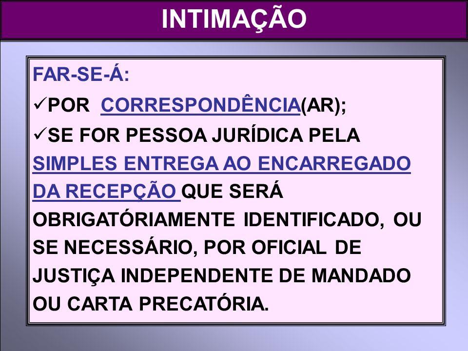 INTIMAÇÃO FAR-SE-Á: POR CORRESPONDÊNCIA(AR);