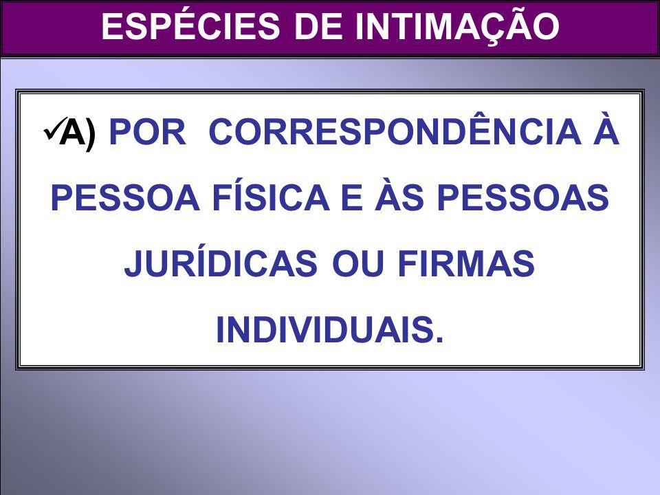 ESPÉCIES DE INTIMAÇÃO A) POR CORRESPONDÊNCIA À PESSOA FÍSICA E ÀS PESSOAS JURÍDICAS OU FIRMAS INDIVIDUAIS.