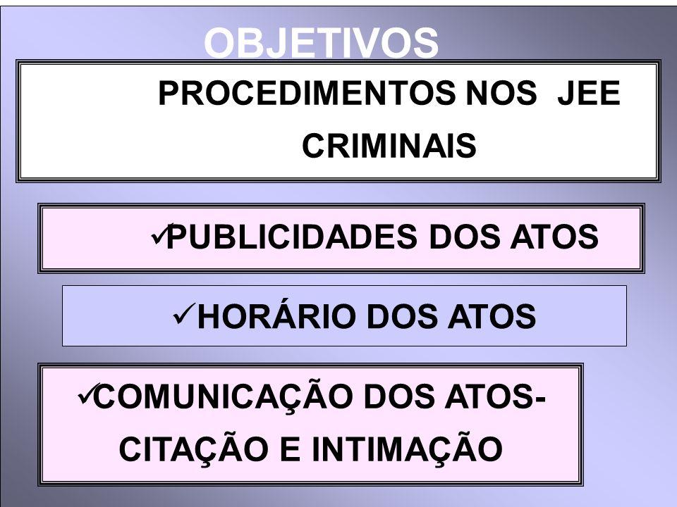 OBJETIVOS PROCEDIMENTOS NOS JEE CRIMINAIS PUBLICIDADES DOS ATOS
