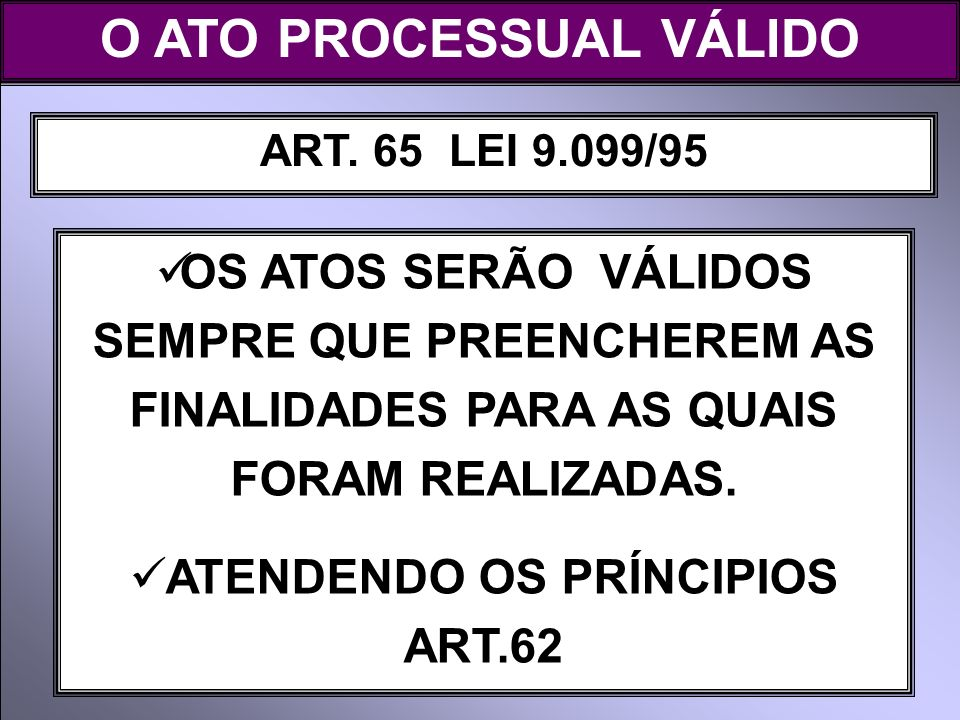 O ATO PROCESSUAL VÁLIDO ATENDENDO OS PRÍNCIPIOS ART.62