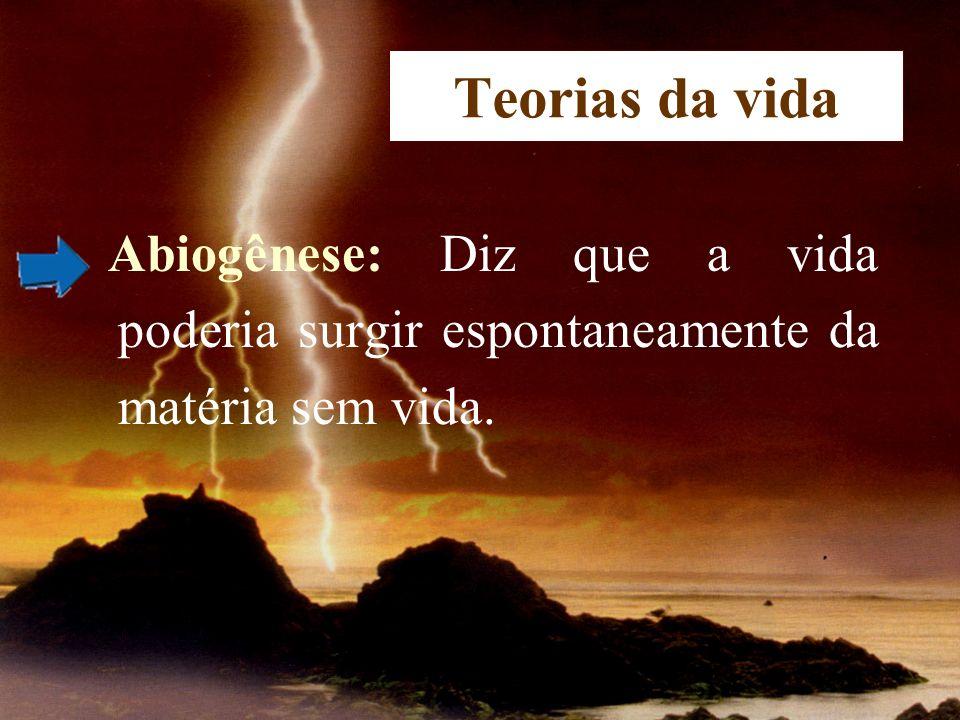 Teorias da vida Abiogênese: Diz que a vida poderia surgir espontaneamente da matéria sem vida.