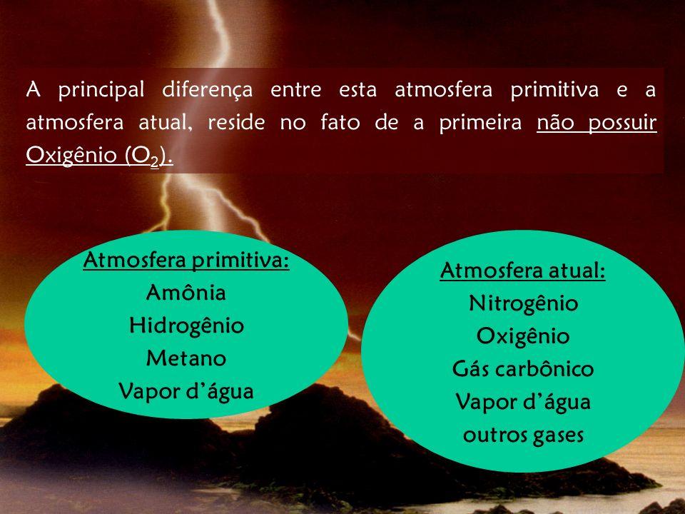 A principal diferença entre esta atmosfera primitiva e a atmosfera atual, reside no fato de a primeira não possuir Oxigênio (O2).