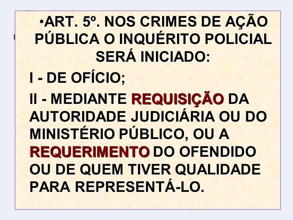 ART. 5º. NOS CRIMES DE AÇÃO PÚBLICA O INQUÉRITO POLICIAL SERÁ INICIADO:
