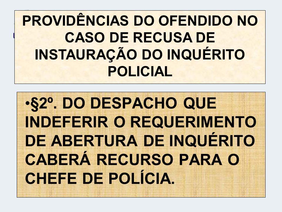 PROVIDÊNCIAS DO OFENDIDO NO CASO DE RECUSA DE INSTAURAÇÃO DO INQUÉRITO POLICIAL