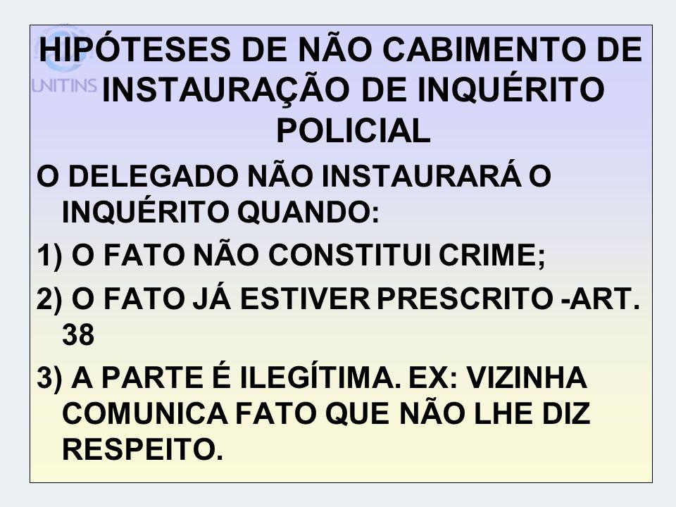 HIPÓTESES DE NÃO CABIMENTO DE INSTAURAÇÃO DE INQUÉRITO POLICIAL