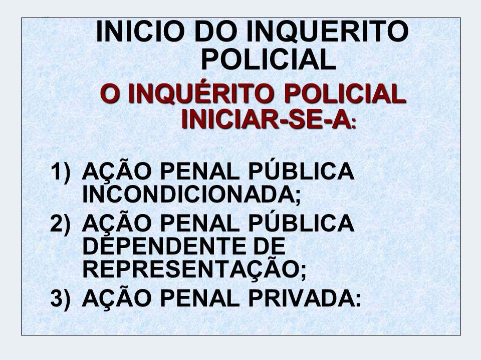 INICIO DO INQUERITO POLICIAL O INQUÉRITO POLICIAL INICIAR-SE-A: