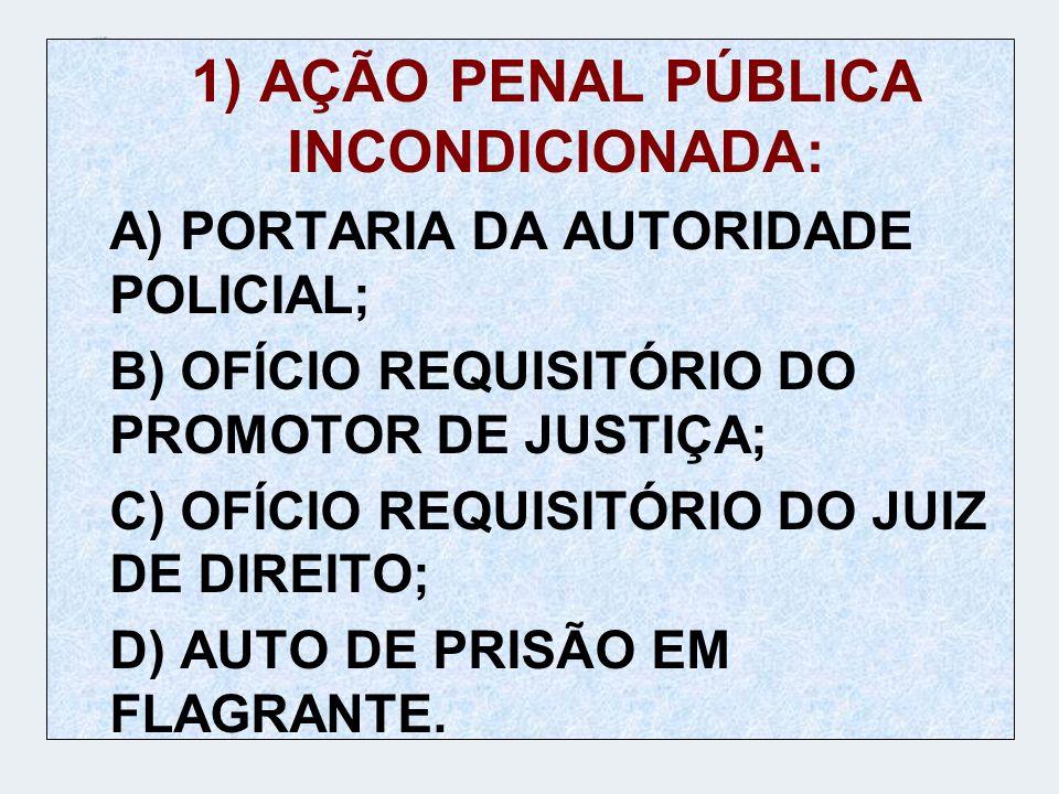 1) AÇÃO PENAL PÚBLICA INCONDICIONADA: