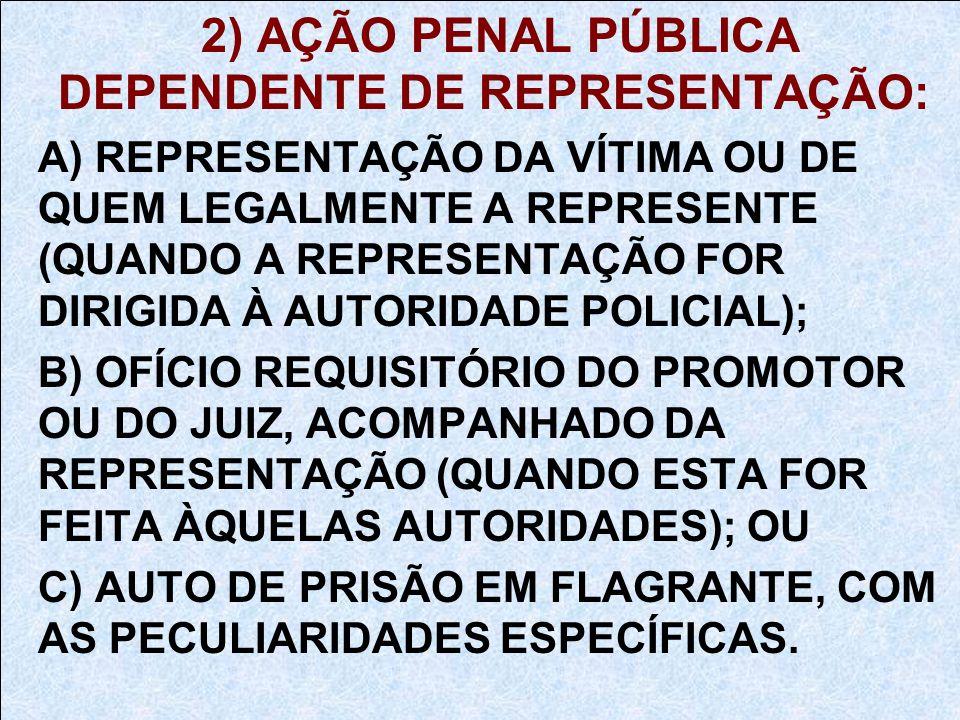 2) AÇÃO PENAL PÚBLICA DEPENDENTE DE REPRESENTAÇÃO:
