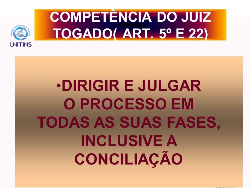 COMPETÊNCIA DO JUIZ TOGADO( ART. 5º E 22)