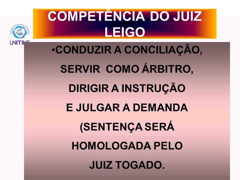 COMPETÊNCIA DO JUIZ LEIGO
