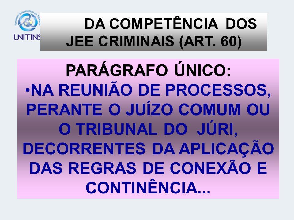 DA COMPETÊNCIA DOS JEE CRIMINAIS (ART. 60)