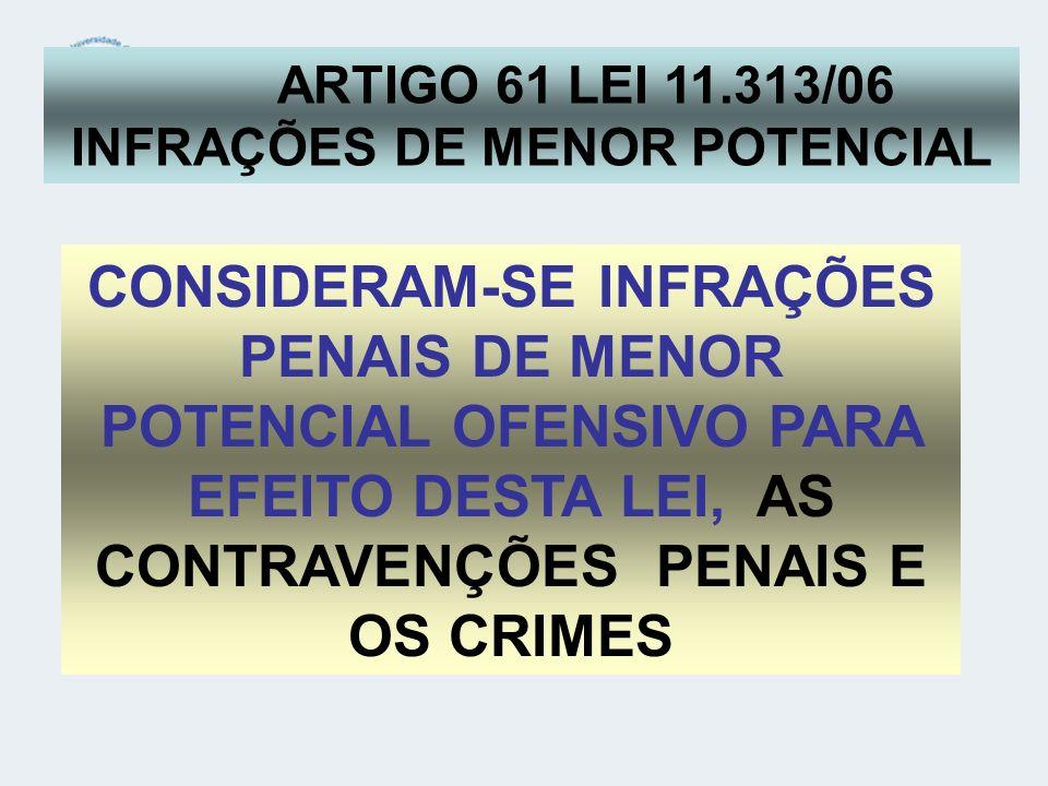 ARTIGO 61 LEI 11.313/06 INFRAÇÕES DE MENOR POTENCIAL