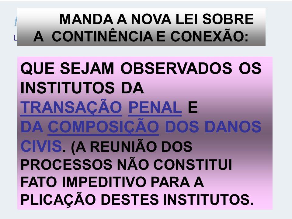 MANDA A NOVA LEI SOBRE A CONTINÊNCIA E CONEXÃO: