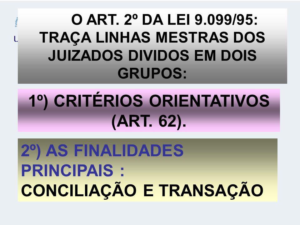 1º) CRITÉRIOS ORIENTATIVOS (ART. 62).