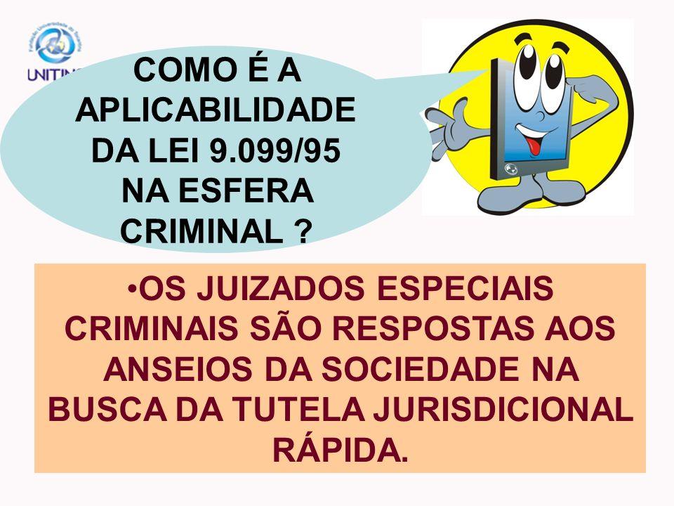 COMO É A APLICABILIDADE DA LEI 9.099/95 NA ESFERA CRIMINAL
