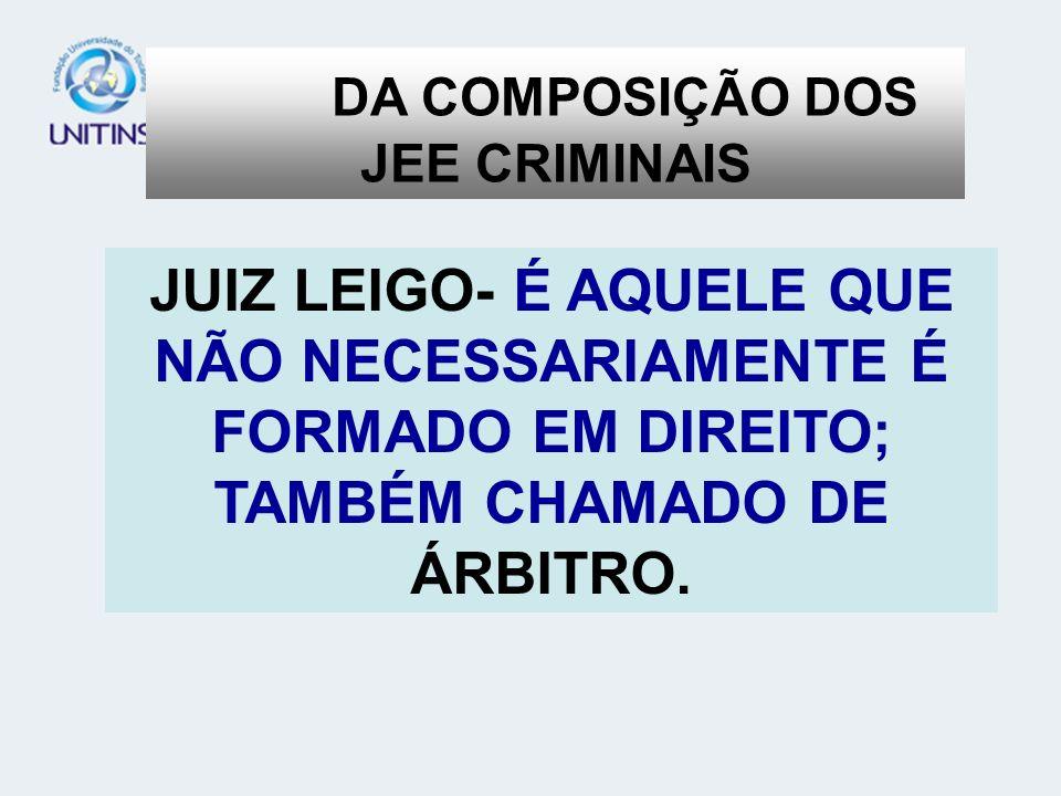 DA COMPOSIÇÃO DOS JEE CRIMINAIS