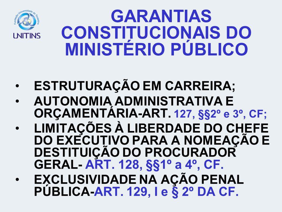 GARANTIAS CONSTITUCIONAIS DO MINISTÉRIO PÚBLICO
