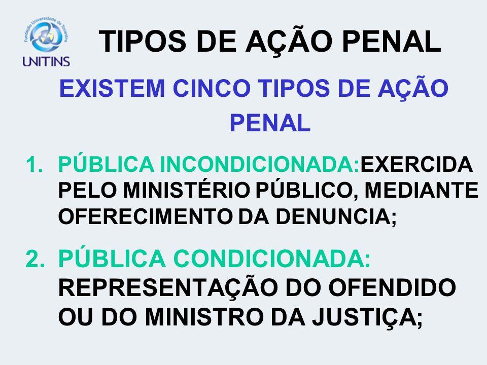 EXISTEM CINCO TIPOS DE AÇÃO PENAL
