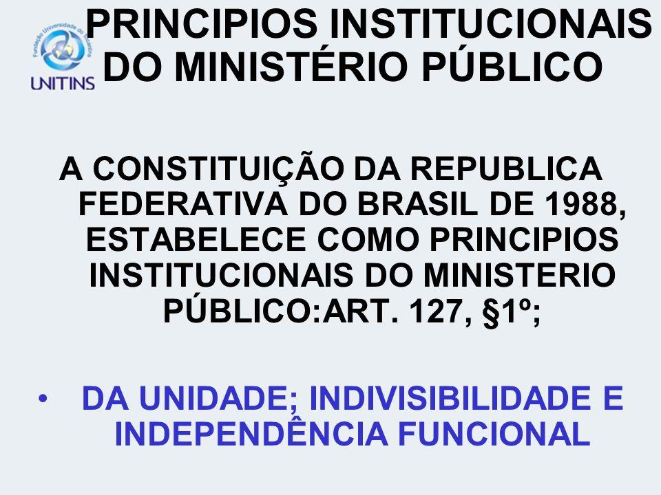 PRINCIPIOS INSTITUCIONAIS DO MINISTÉRIO PÚBLICO