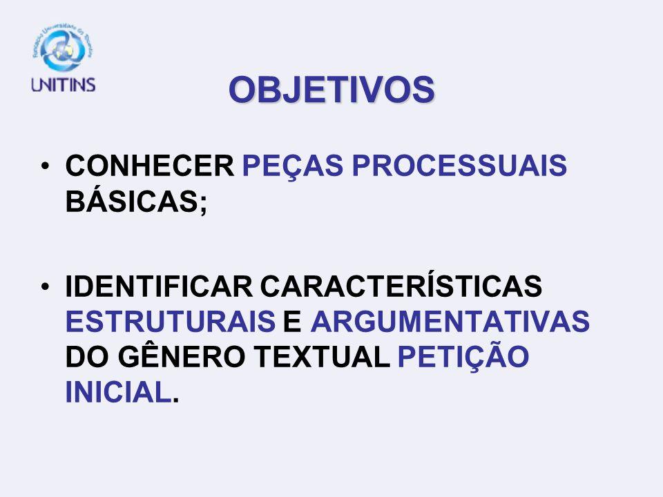 OBJETIVOS CONHECER PEÇAS PROCESSUAIS BÁSICAS;